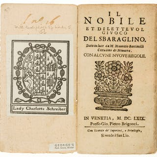 Italian Backgammon.- Bartinelli (Mauritio) Il Nobile et Dilettevol