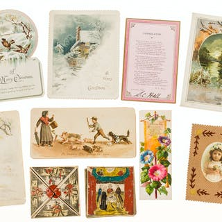 Collection of c.100 Victorian Christmas and other greetings cards