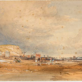 Sussex.- Lindsay (Thomas, 1793-1861) Low Water on the Sand at Hastings