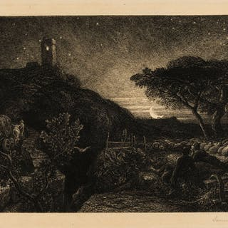Palmer (Samuel, 1805-1881) The Lonely Tower, etching, 1879. Palmer
