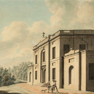 James Malton (1766-1803) The front elevation of a villa; The rear