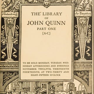 Auction catalogue.- Library of John Quinn (The), 5 vol., New York
