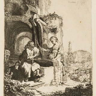 Rembrandt van Rijn (1606-1669) Christ and the Woman of Samaria among