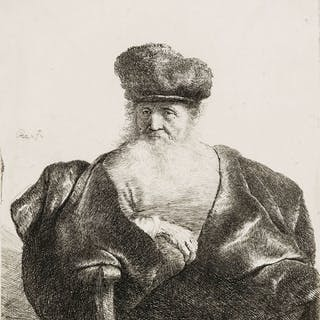 Rembrandt van Rijn (1606-1669) An Old Man with Beard, Fur Cap and Velvet Coat