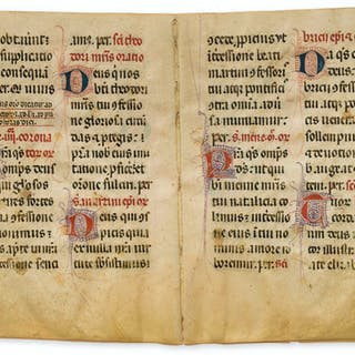 Two bifolia from a Breviary-Antiphoner of Dominican use, South Eastern