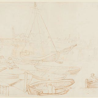 Rowlandson (Thomas, 1756-1827) Harbour scene with men in rowing boats