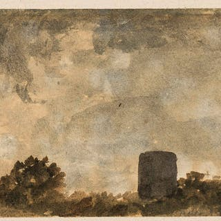 Varley the Elder (John, 1778-1842) Cloud study with treetops and tower