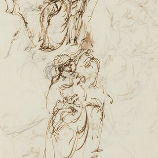 Boxall (Sir William, 1800-1879) Figure studies (recto); Abstract calligraphic