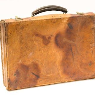 Hayek's leather brief case, key, [c. 1930s]. Hayek's leather brief