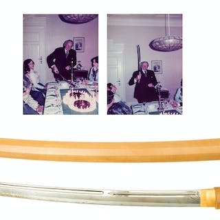 Japanese Katana sword, steel blade, possibly bamboo hilt and scabbard