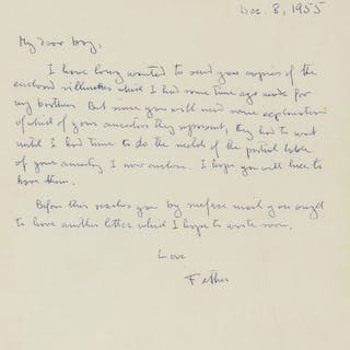 """Hayek (Friedrich August) Autograph Letter signed """"Father"""" to his son"""