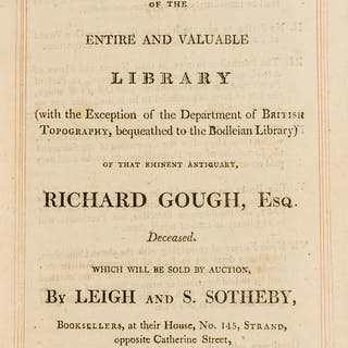 Gough (Richard) [Sale Catalogue] A Catalogue of the Entire and Valuable
