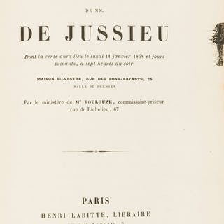 Natural History Sale Catalogues.- Jussieu (Antoine de) Catalogue de
