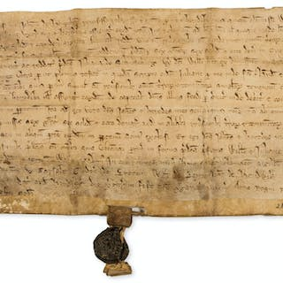 Medieval.- Quitclaim by John de Houghthon to William de Landon of
