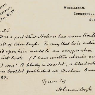 Sherlock Holmes & Dr Watson.- Doyle (Sir Arthur Conan) Autograph Postcard