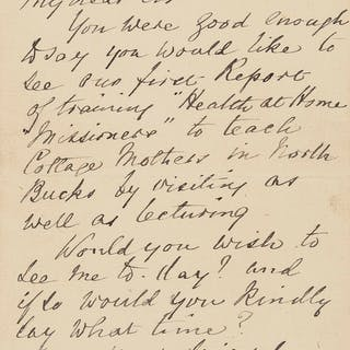 """Nightingale (Florence) Autograph Letter signed to Dr Ord, 1893, """"You"""