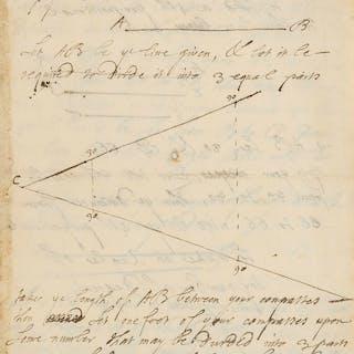 Mathematics.- De Moivre (Abraham) Autograph mathematical manuscript