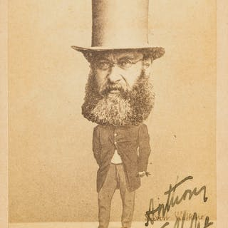 Trollope (Anthony) Caricature photograph of Trollope signed, [c. 1870].