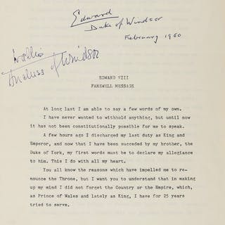 "Edward VIII. Farewell Message..., Abdication Speech signed ""Edward"""