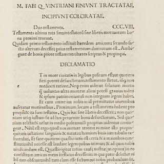 Quintilianus (Marcus Fabius) Declamationes Minores, rare editio princeps