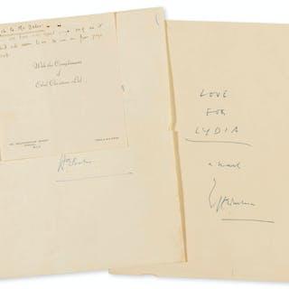 Bates (H.E.) Love for Lydia, autograph manuscript signed, 1951-52.