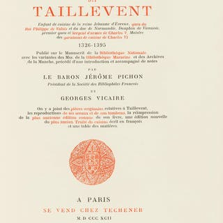 Cookery.- Taillevent (Guillaume Tirel dit) Le viandier, one of 350