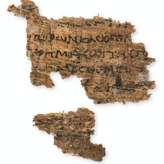Papyrus fragment.- Dinarchus. In Demosthenem, 2 fragments from a papyrus