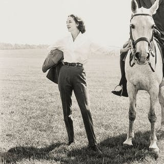 Norman Parkinson (1913-1990) The Queen's Trainer on Horse and Wife;