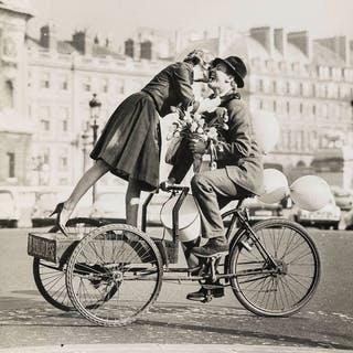 Norman Parkinson (1913-1990) Couple on Tricycle with Tulips (Virginia