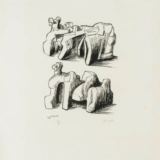 Henry Moore (1898-1986) Two Rock Reclining Figures (Cramer 102), Henry