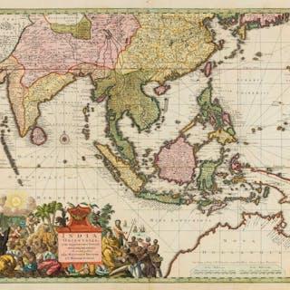 India and South East Asia.- Seutter (Matthäus) India Orientalis, cum