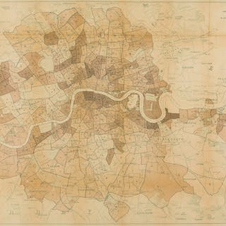 London Poverty.- Booth (Charles) Map Shewing Degrees of Poverty in