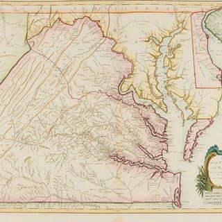 Americas.- Vaugondy (Gilles Robert de) Carte de la Virginie et du