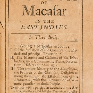 Macasar.- Nicolas (Gervaise) An Historical Description of the Kingdom