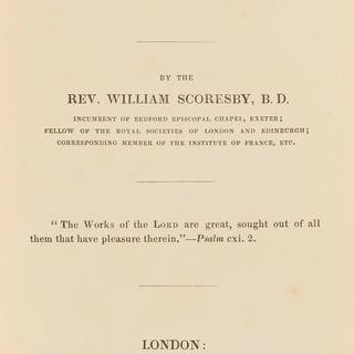 Arctic & Whaling.- Scoresby (Rev. William) Memorials of the Sea, first