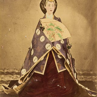 Japan.- Album of 100 coloured albumen prints, include sumo wrestling