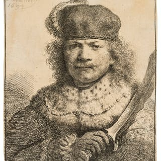 Rembrandt van Rijn (1606-1669) Self-Portrait with a Raised Sabre