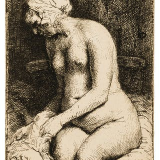 Rembrandt van Rijn (1606-1669) Woman Bathing her Feet at a Brook