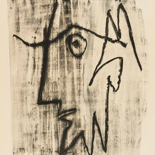 Pablo Picasso (1881-1973) Profile of Bearded Man Looking to the Left