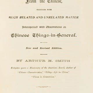 China.- Smith (Arthur H.) Proverbs and Common Sayings from the Chinese