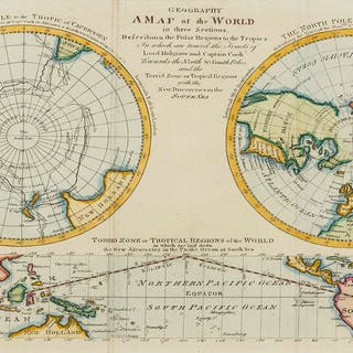 Polar.- Captain Cook.- Bell (Andrew) Geography A Map of the World