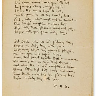 "Davies (W.H.) 6 Autograph manuscript poems initialled ""W H D"", [c."