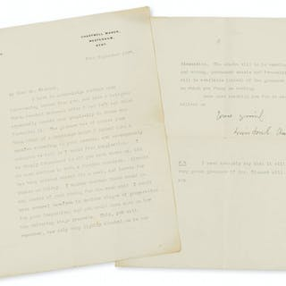 Churchill (Sir Winston Spencer) Typed Letter signed to Walter Sickert