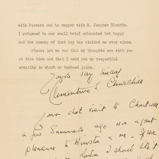 Churchill (Clementine) Typed Letter signed to Thérèse Sickert, née