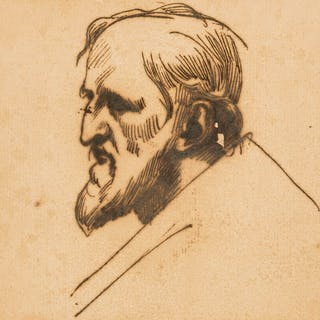 Reynolds (Sir Joshua) Head of a bearded man, probably after Guercino