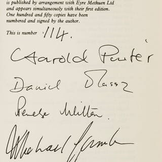 Pinter (Harold) Betrayal, number 114 of 150 copies signed by the author
