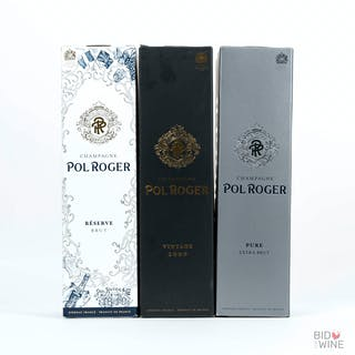 Various Vintages Pol Roger Trio, 3 bottles of 75cl.