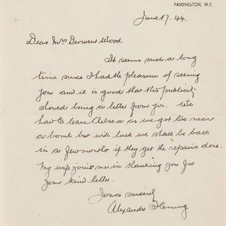 Fleming (Sir Alexander) Autograph Letter signed to Mrs Derwent Wood