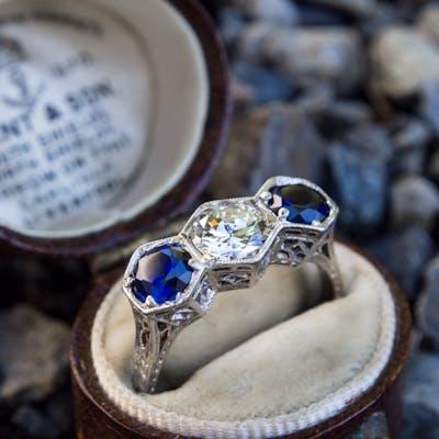 Antique Filigree Three Stone Ring Diamond & Sapphires in Platinum