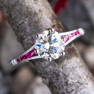 1 Carat Transitional Cut Diamond Engagement Ring w/ Ruby Accents